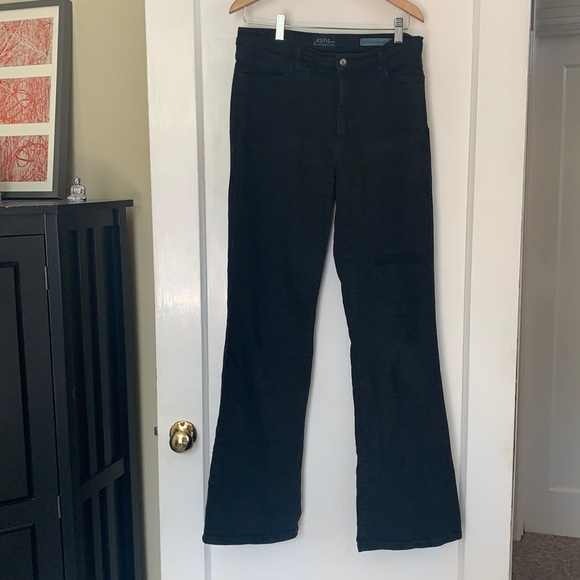 High waisted black flared jeans